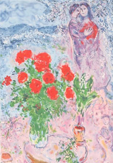 Red Bouquet with Lovers, Marc Chagall